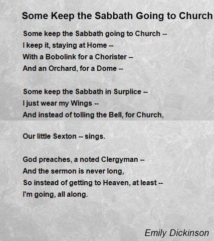"""Some keep the Sabbath going to Church"""