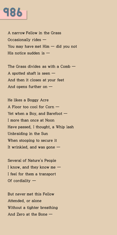 """A narrow Fellow in the Grass"""
