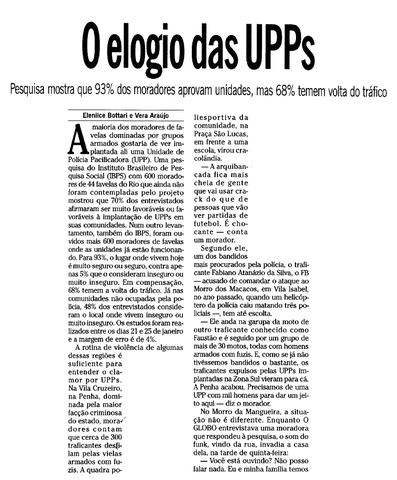 Favelas com UPP são seguras para 93% de seus moradores, segundo pesquisa do IBPS