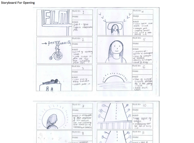 Storyboard for opening