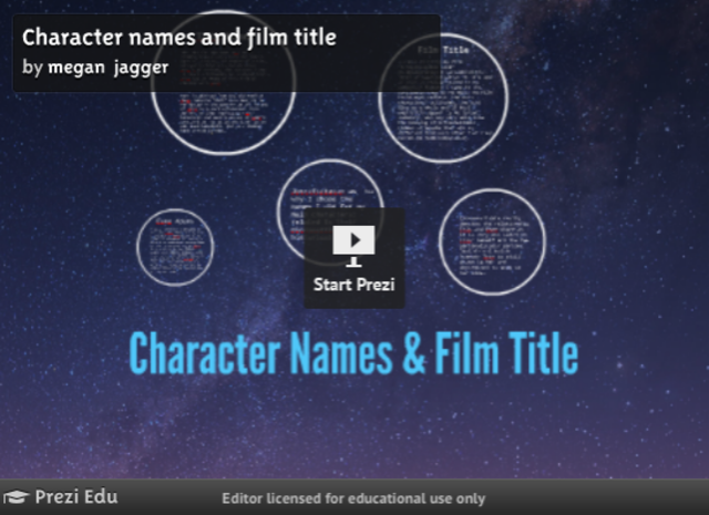 Character names and film title