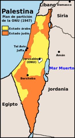 Las Naciones Unidas dividia Palestina en dos Estados ( sionista y arabe)