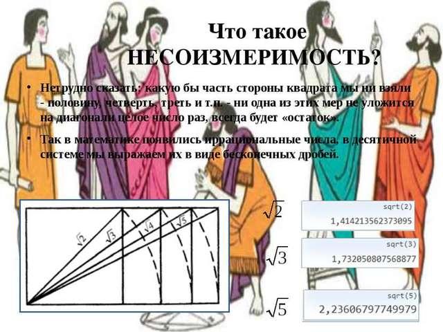 5 век до н.э. несоизмеримости стороны квадрата и его диагонали
