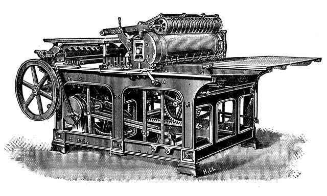 Johnannes Gutenberg uses a press to print an old German poem.