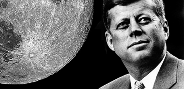President John Kennedy announces that an American will land on the Moon