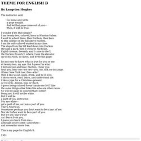 """""""Theme For English B"""""""