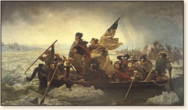 Redcoats push Washington's army across the Delaware River into Pennsylvania