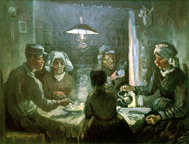Van Gogh paints his first major work, The Potato Eaters