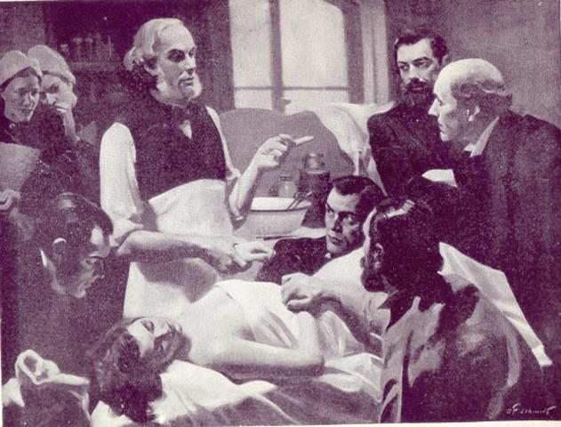 Joseph Lister desarrolla el principio de la asepsia en la práctica quirúrgica