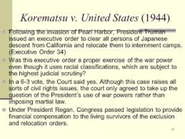Korematsu v. United States (Equal Protection)