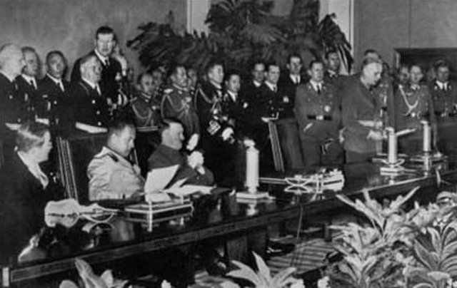 The Tripartite Pact is signed by Germany, Italy, and Japan