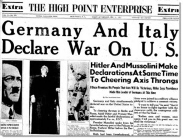 Italy and Germany declare war on United States