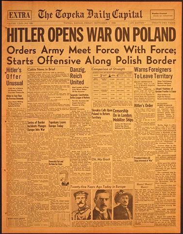 Hitler attacks Poland and France and England Declares War