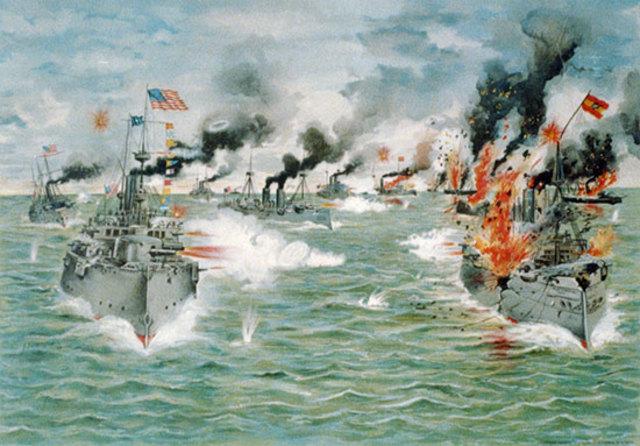 First battle of Spanish-American War at Manila Bay