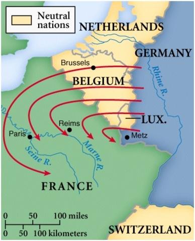 Germany invades through Belgium