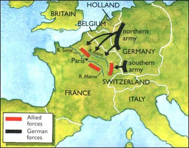 Germany's  Schlieffen Plan and Attacks France through Neutral Belguim