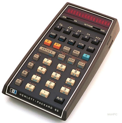 Hewlet Packard : première calculatrice de poche programmable : la HP 65.