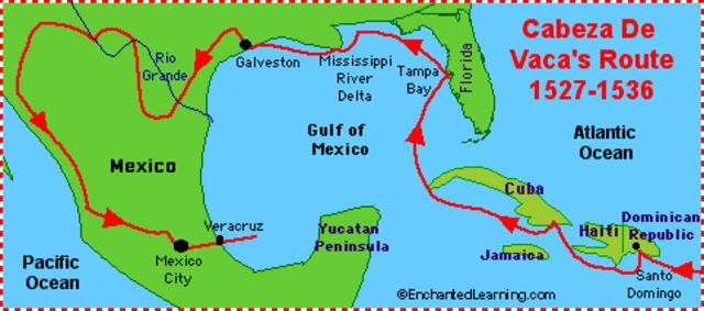 Cabeza de Vaca lands on Galveston