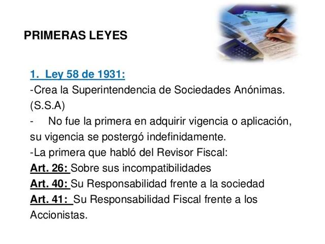 LEY 58 DE 1931: REVISOR FISCAL Y CONTADOR JURAMENTADO