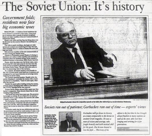 USSR Officialy Dissolved