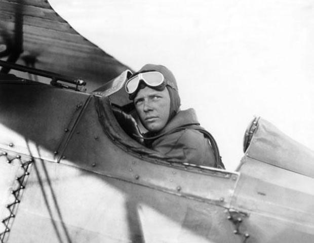 "Charles Lindbergh flies the ""Spirit of St. Louis"" on !st solo transatlantic flight"