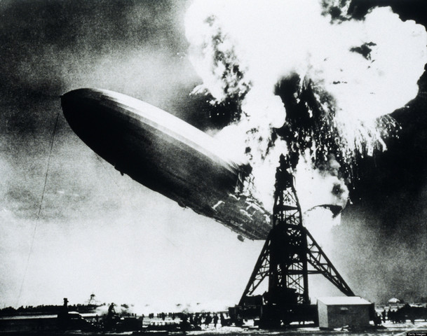 The Hindenburg crashes.