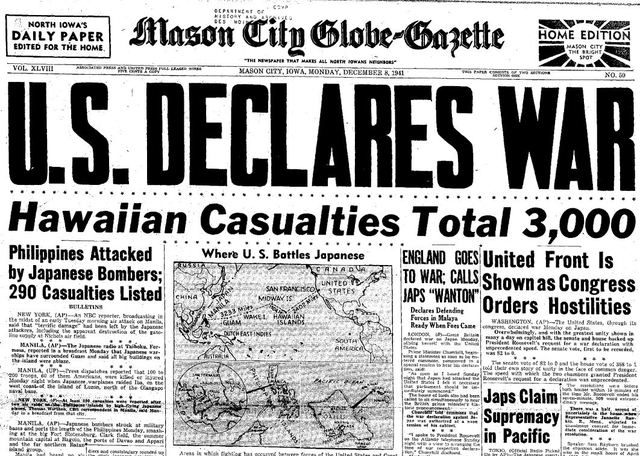 United States and Britian declare war on Japan