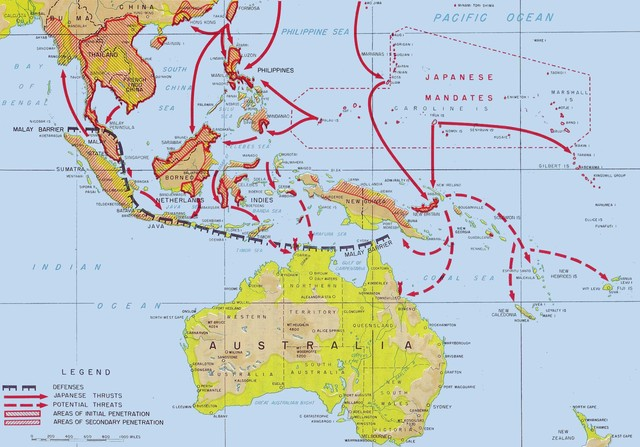 Japanese start invading the Pacific islands one by one
