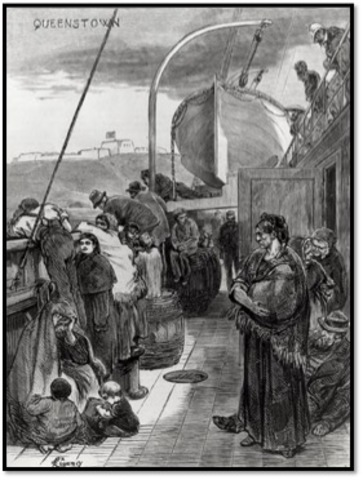 First large wave of immigrants arrive