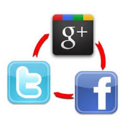 Facebook,  Twitter, Google+
