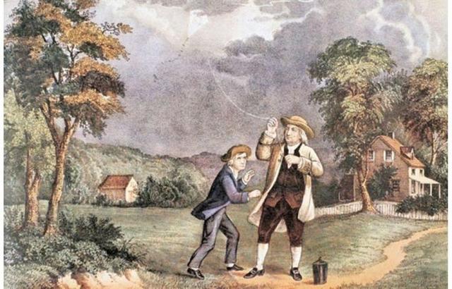 Benjamín Franklin dio lugar a la invención del pararrayos.