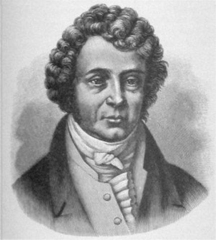 """André-Marie Ampére crea la """"Ley de Ampére"""" y construye un instrumento al que llamó """"galvometro""""."""