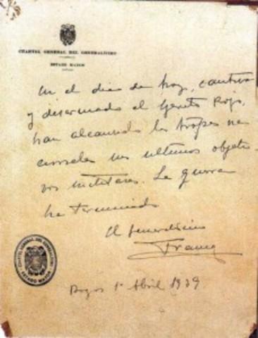 Franco firma el último parte oficial de guerra desde el Cuartel General del Ejército nacional en Burgos