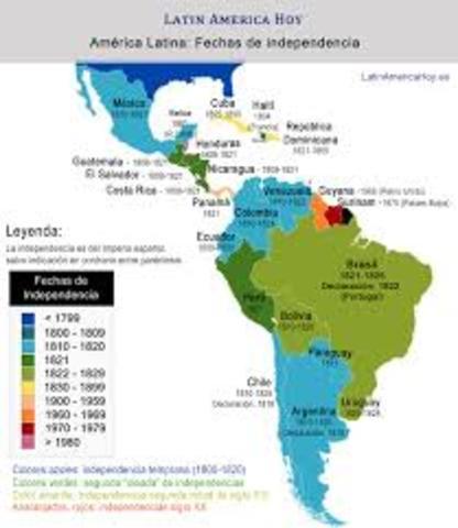 Comienza la indepencia de países de américalatina.