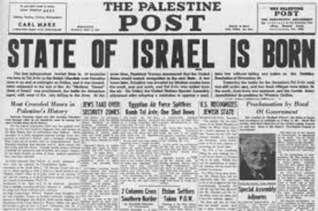 Establishment of state of Israel