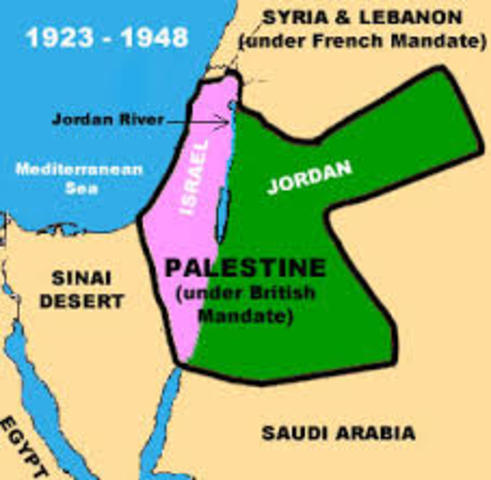 Britain wins control over the area of Palestine from the Ottoman Empire