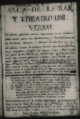 Fray Navarrete: Teatro enciclopédico
