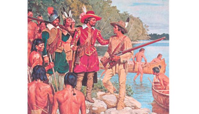 Passage d'Étienne Brûlé avec Champlain