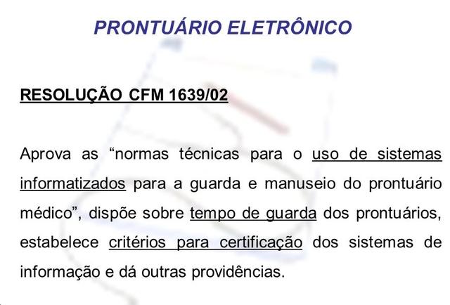 Parceria CFM/SBIS - norma técnica