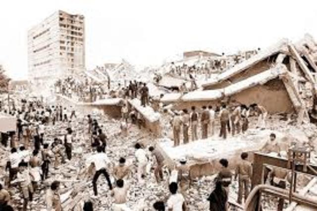 Devastador terremoto en la ciudad de Mexico.
