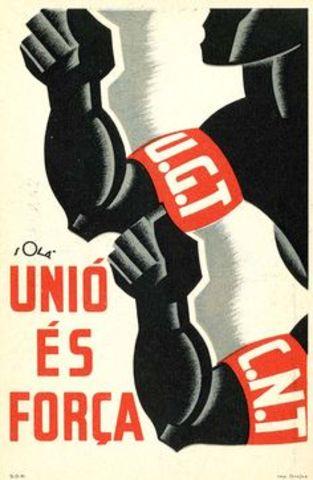 Se acuerda un pacto de acción conjunta entre la CNT y la UGT.
