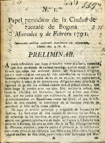 Primera publicación en Colombia