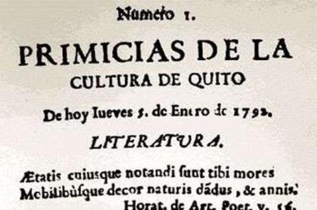 """Proto-periódico ecuatoriano """"Primicias de la cultura de Quito"""""""