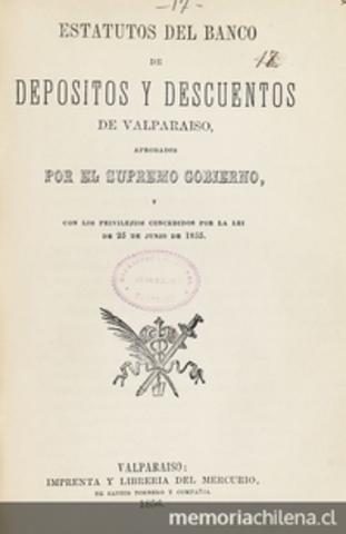 Se crea el Banco de Depósitos y Descuentos de Valparaíso