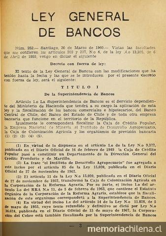 Ley General de Bancos (Ley N° 80) sobre Bancos de Emisión.