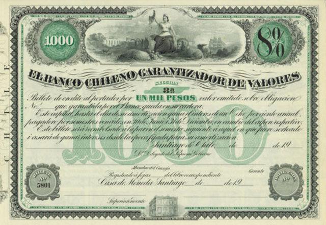 Se funda el Banco Chileno Garantizador de Valores.