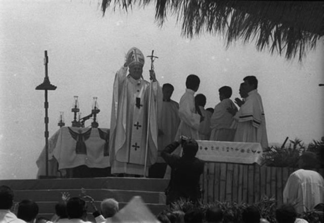 Llegada del Papa Juan Pablo II