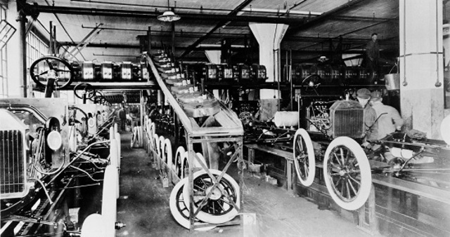 The first moving assembly line was introduced