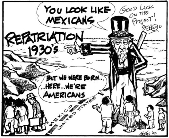 Mexican Repatriation refers to a forced return to Mexico of people of Mexican descent from the United States between 1929 and 1936.