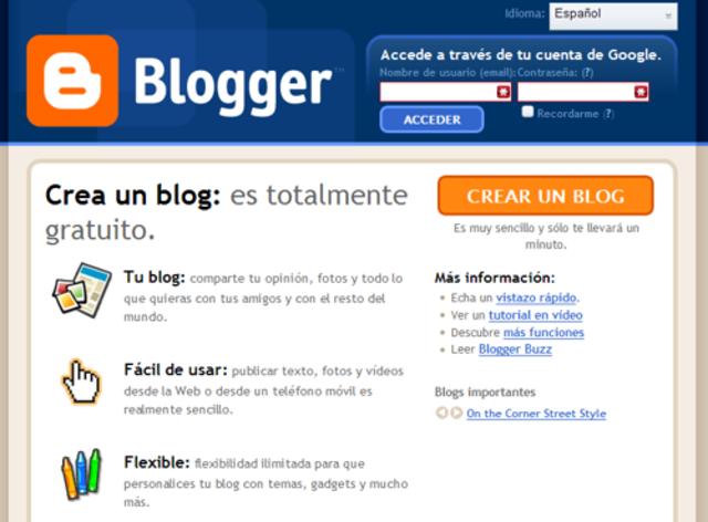 Lanzamiento de Blogger.